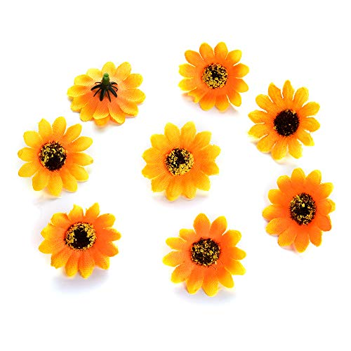 silk flowers in bulk wholesale Fake Flowers Heads Mini Silk Sunflowers Daisy Small Artificial Rose Flowers Heads Poppy Wreath Wedding Decoration Scrapbooking 100pcs/lot 3.5Cm (Yellow)