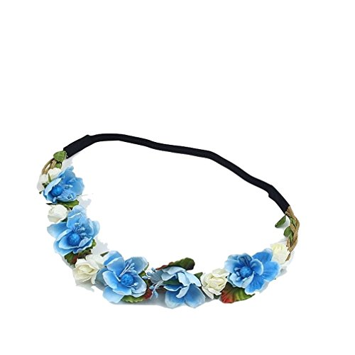 Band Yellow Wreath Paper Headdress Rose Blue Color Size Holiday Elastic Hair Bohemian 22cm Bride Polykor Headband ESqwff7