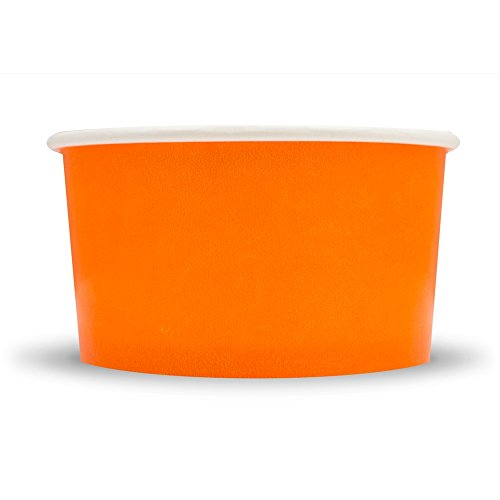 Bowl Small Orange (Orange Paper Ice Cream Cups - 4 oz Small Dessert Bowls - Comes In Many Colors & Sizes! Frozen Dessert Supplies - Fast Shipping! 25 Count)