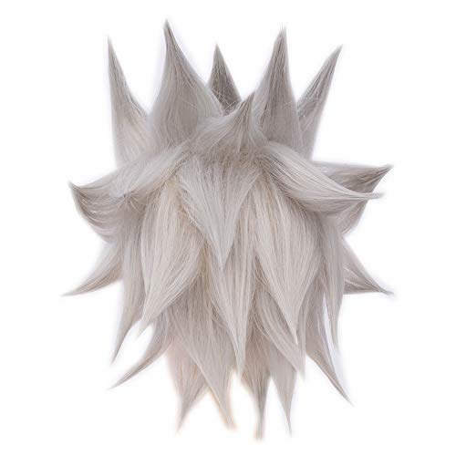 Rock Collection Costume Wigs Men's Dragon Ball Goku Cosplay Wig +Wig Cap (Silver F6) -