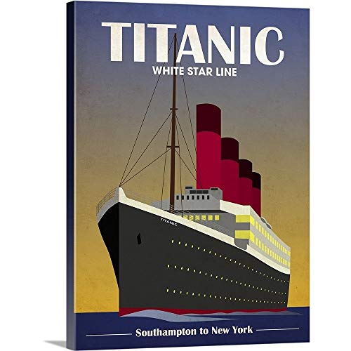 Titanic Ocean Liner Art Deco Canvas Wall Art Print, 18