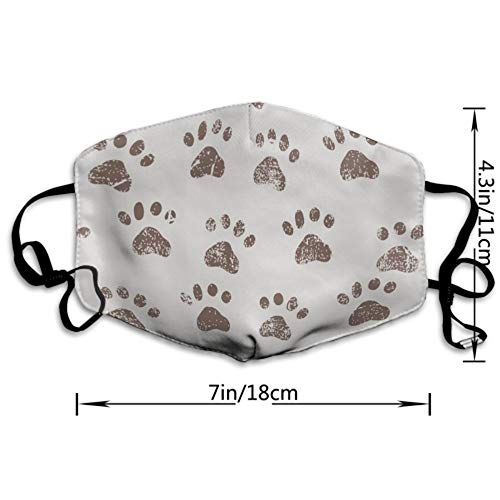 CIGOCI Premium Earloop Mouth Mask, Anti-Dust Pollenm Smog Respirator with Adjustable Elastic Band - Windproof Dog Footprints Half Face Mouth Medical Mask