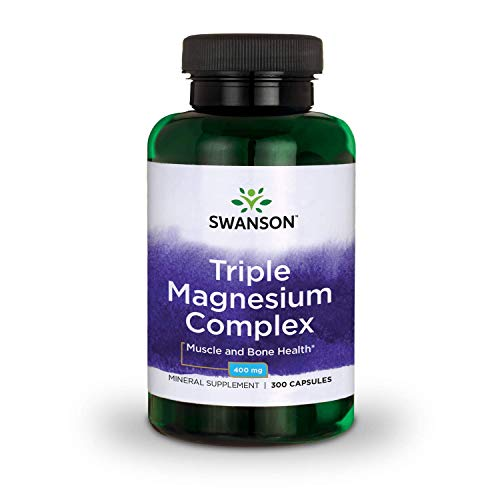 Swanson Triple Magnesium Complex Absorption Bone and Mood Health Citrate Oxide and Aspartate Combination Supplement 400 mg 300 Capsules