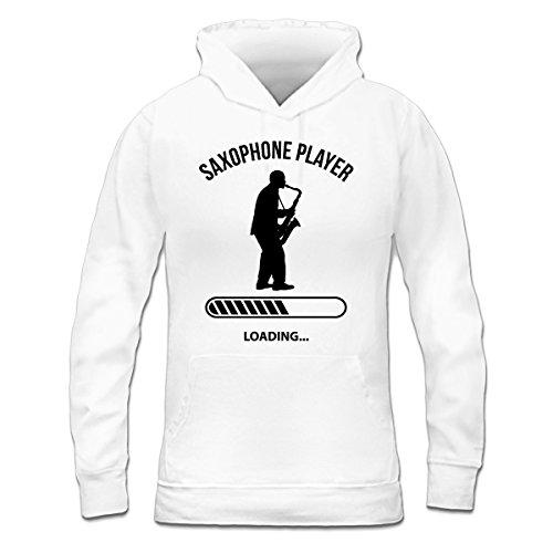 Sudadera con capucha de mujer Saxophone Player Loading by Shirtcity Blanco
