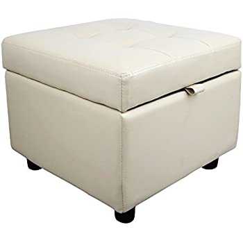 Tufted Leather Square Flip Top Storage Ottoman Cube Foot Rest (Cream)