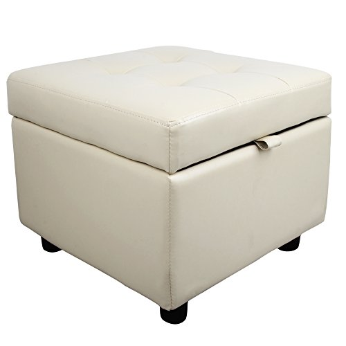 Cream Ottoman - Tufted Leather Square Flip Top Storage Ottoman Cube Foot Rest (Cream)