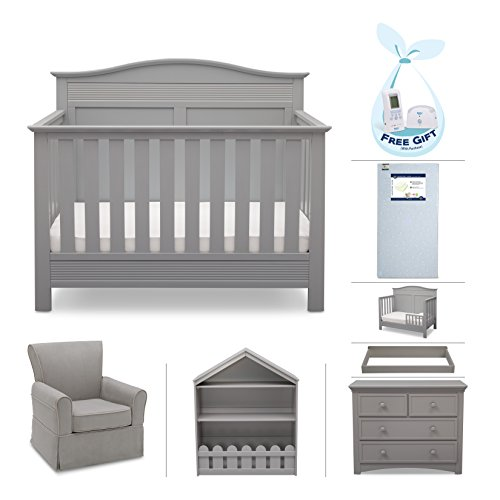Serta Barrett 7-Piece Nursery Furniture Set with FREE Digital Baby Monitor (ships separately) (Convertible Crib, Toddler Rail, Dresser, Changing Top, Bookcase, Crib Mattress, Glider), Grey from Delta Children