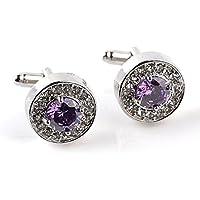Mrsrui Purple Crystal Cufflinks Studs Set Shirt Business Wedding Birthday Gift Men Father Husband
