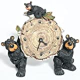 Willie Black Bear with Cub Holding a Birch Log Clock 8""