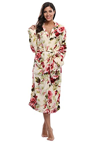 (Kimono Outlet Women's Animal Print Cozy Plush Robe Hooded Bathrobe)