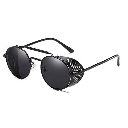 Gafas cool ROUND soleil Steampunk th¨¦ Vintage Punk Miroir Femmes Zygeo lunettes Gris Lunettes C1 C4 9234 or Personnalit¨¦ Hommes Noir Lunettes de SxqxA06