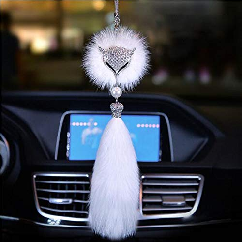 Carmen Car Pendant Rear View Mirror Hanging Ornaments Fox Fur Crystal Charm Jewelry Car Decoration Interior Accessories (A)