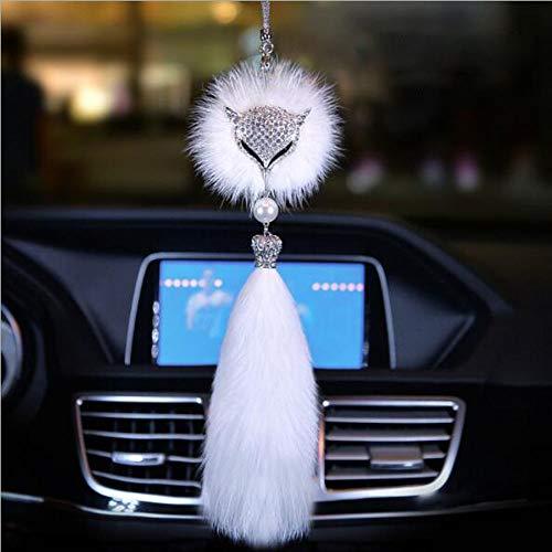 Carmen Car Pendant Rear View Mirror Hanging Ornaments Fox Fur Crystal Charm Jewelry Car Decoration Interior Accessories ()