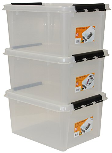 Orthex 35100703 3er-Set Clipbox Smart Store Classic 31, 32 Liter, transparent