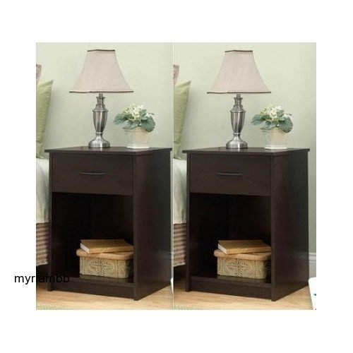 Set of 2 Nightstand MDF End Tables Pair Bedroom Table Furniture Multiple Colors (Brown) by Mainstay