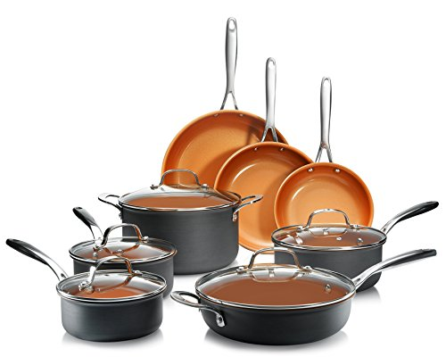 Gotham Steel Professional- 13 Piece Hard Anodized Premium Cookware Set with Ultimate Nonstick Titanium and Ceramic Coating, Oven and Dishwasher Safe