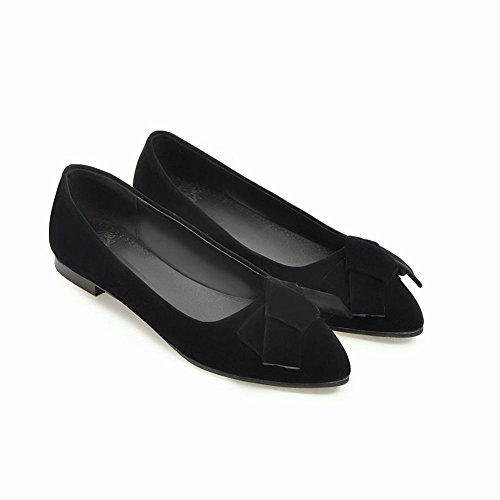 Loafer Shoes Toe Pointed Bow Flat Women's Carolbar Black Solid Color Charm 8zR7qf