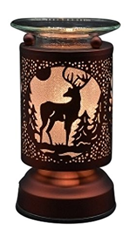 L&V New Electric Touch Fragrance Aromatherapy Lamp Oil Warmer Deer Buck Cabin -