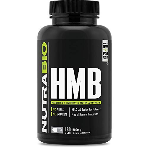 NutraBio HMB Supplement - 1000mg per Serving, 180 Capsules
