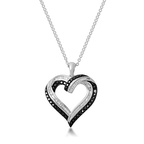 Jewelili Palladium Flash Plated Brass 1/2 cttw Round Black Diamond and White Baguette Heart Pendant Necklace, 18