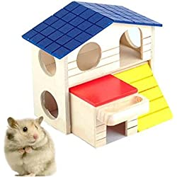 UChic Natural Wooden Foldable Two Layers Hedgehog House Hamster Toy Hamster Cage Decoration Gerbil Chew Toys Hamster Small Pets House