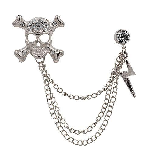 Rhinestone Skull Skeleton Lightning Bolt Brooches pin Badge Chain Tassel Brooch Gift for Women Men Friend Suit Jewelry (Silver)