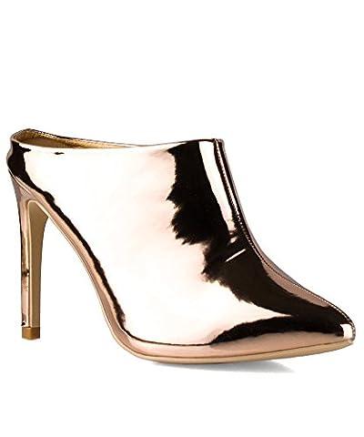 ROF Women's Metallic Pointy Toe Slip On Ankle Mule Heel Pumps ROSE GOLD (10)