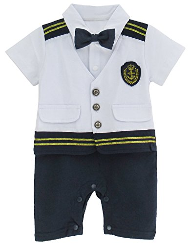 A&J DESIGN Toddler Baby Boys'Halloween Navy Captain Uniform Costume Romper Outfit (12-18 Months, White)