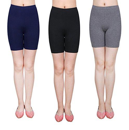 IRELIA 3 Pack Modal Girls Bike Shorts Solid Underwear for School Size 6-16 02 XS ()