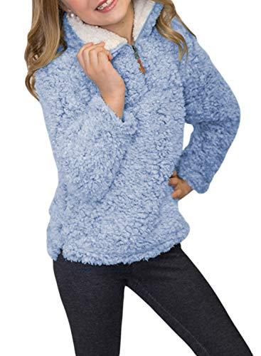 Azokoe Winter Girls Fleece Jackets Kids Long Sleeve Pebble Pile Sherpa Fleece Fuzzy Hooded Hoodie Windproof Pullover Jacket Tops Sweatshirts Coat Outerwear Sky Blue Size 4 5 Medium ()