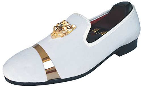 Justyourstyle Men's Velvet Loafers Slippers with Gold Buckle Wedding Dress Shoes Slip-on Smoking Flats (10, White)