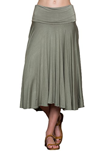Annabelle Women's Plus Size Fold Over Waistband Comfortable Midi Skirts with Side Pokcets Light Olive 2X S9005X ()
