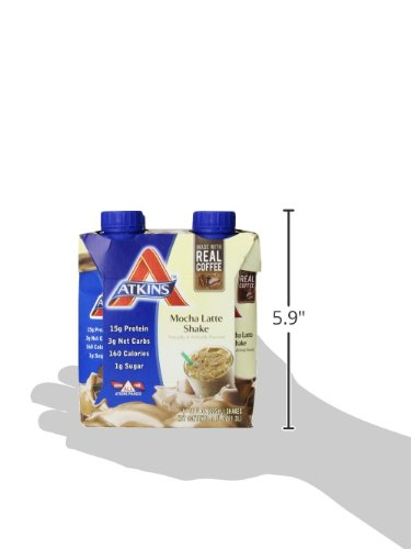 Atkins Ready to Drink Shakes, Mocha Latte, 15g Protein, 3g Net Carbs, 1g Sugar, 11-Ounce, 4-Count (packaging may vary)