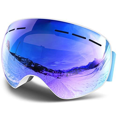 Eastshining 【2019 최신판】스키 고글 스노우 고글 더블 구면 렌즈 설눈(째) 방지 흐림금지 자외선 컷 렌즈착 탈가능 피트감・환기성 발군 안경 대응 헬멧 대응