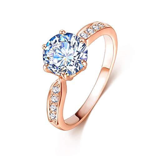 حلقه نامزدی عروسی LOVOE Round CZ حلقه 18k گل رز 6 عیار روکش طلا 6 حلقه عروسی یک نفره ، (اندازه 5.5 تا 9)