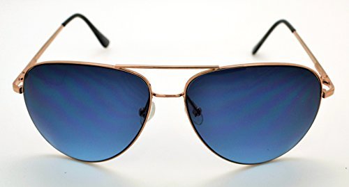 classique qualité W étui homme léger femme Lens Frame Lunettes microfibre haute Gold Aviator et pour Vox tendance de gratuit soleil Blue pour 5q6gtZwqn