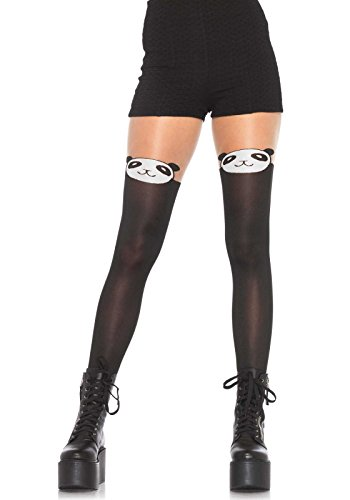 [Leg Avenue Women's Panda Pantyhose, Black, One Size] (Panda Costume For Sale)