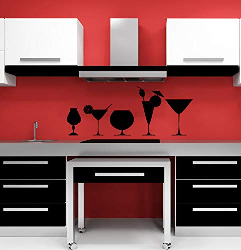 Price comparison product image Cocktails Mixed Drinks Glasses Martinis Restaurant Decor Dining Wall Decor Wall Decal Kitchen Decal Wall Art Kitchen Decor Alcohol and Stick Made in USA