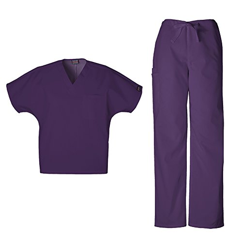 Cherokee Workwear Unisex V-Neck Top 4777 & Straight Leg Drawstring Pant 4100 Scrub Set (New Eggplant - Medium/Medium Short)