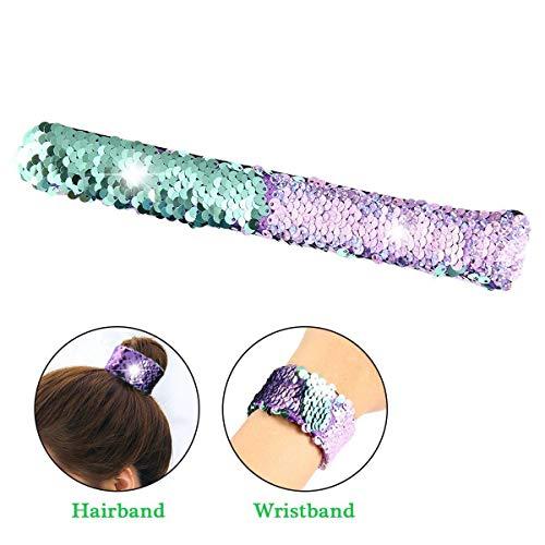 Womdee Slap Bracelets, Sequin Slap Bracelets Double Colors Mermaid Slap Bracelets for Kids Party Favors Birthday Gift Christmas Hair Rope Ring ()