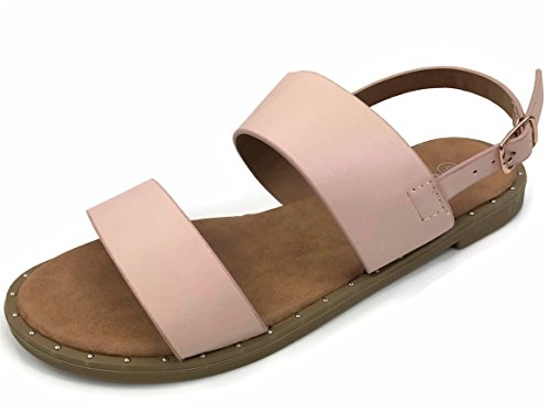 Womens Double Strap Sandal with Slingback Strapl Flat, Ellen-04 Blush 10 - Pink Strap Sandals