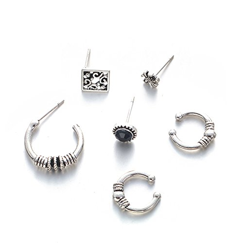 MChome11 6Pcs/Set Of Fashion Ear Clip Earrings Women's Party Jewelry Christmas Gift Antique Silver