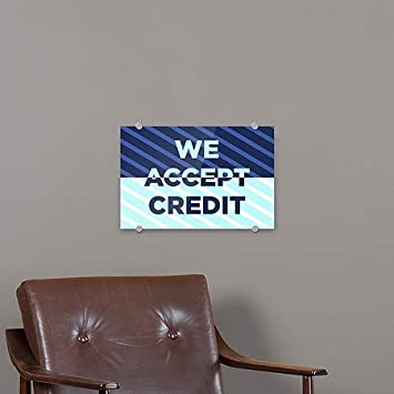 27x18 We Accept Credit 5-Pack CGSignLab Stripes Blue Premium Brushed Aluminum Sign