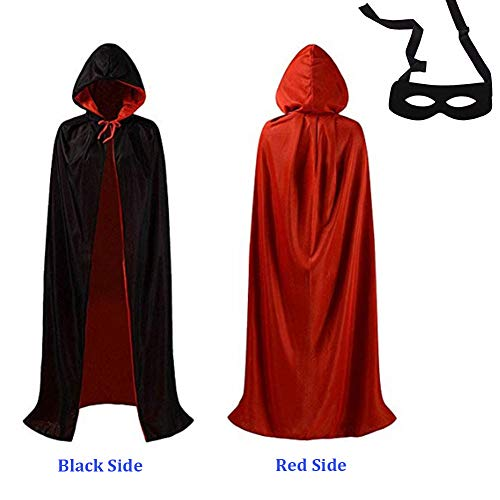 Vampire Cape Hooded Cloak Halloween Cosplay/Masquerade Party Cape Costume Reversible Robe with Black Eye Mask(S, Hooded cloak) -
