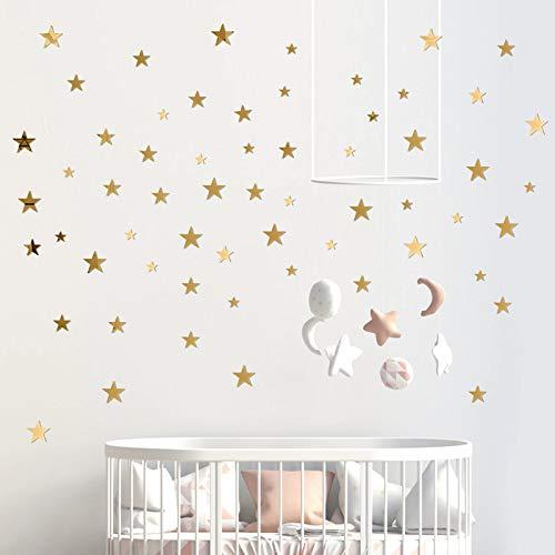 60 Pcs Pegatinas de Pared Estrella Espejo de Acrílico Adhesivos 3 Tamaños DIY Decoración Hogar para Sala de Estar…