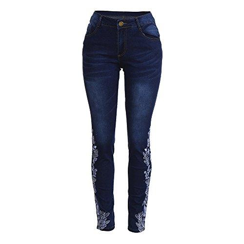 Denim Fitness Slim Stretch Chic SANFASHION Skinny Bleu Crayon Jeans Fonc Broderie Pantalon Femme wqxnvaS6X
