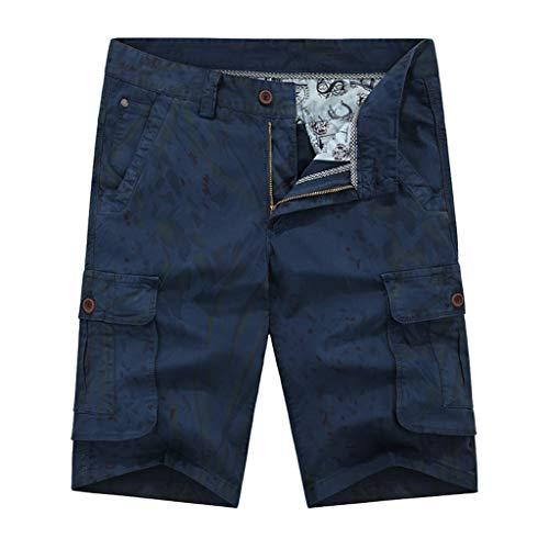 Yellsong Cargo Shorts for Men,Men's Summer Cotton Loose Fit Multi Pocket Cargo Shorts Outdoor Wear Overalls Men's Big & Tall Side-Elastic Twill Cargo Shorts