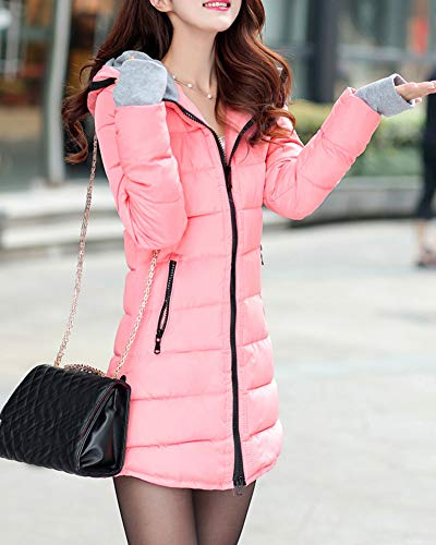 Invierno Abrigos Capucha De Pink Espesar Plumas Mujer Cazadoras Guiran con Cálido Largo Parkas Chaquetas n6aqS4g