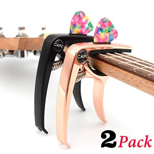 Capo Guitar Capo Rose Gold Capo Black Capo 2 Pack 3in1 Zinc Metal Capo for 6 String Acoustic Electric Bass Ukulele (Rose…