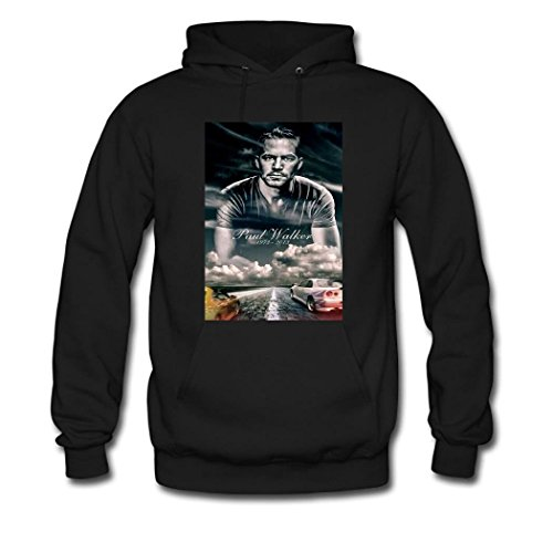 Zhxu0 Designer Paul Walker 1973-2013 Hooded Sweatshirt For Men's Large Black